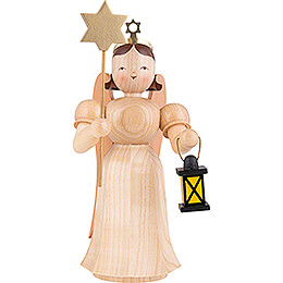 Long Pleated Skirt Angel with Lantern and Star, Natural - 20 cm / 7.9 inch