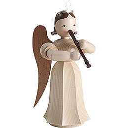 Long Pleated Skirt Angel with Recorder, Natural - 20 cm / 7.9 inch
