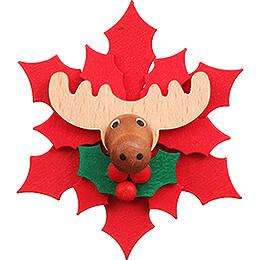 Magnet Weihnachtsstern mit Elch - 6,5 cm