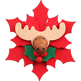 Magnetic Pin - Christmas Star with Moose - 6,5 cm / 2.6 inch