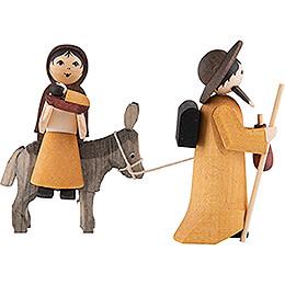 Maria und Josef auf Esel gebeizt - 7 cm
