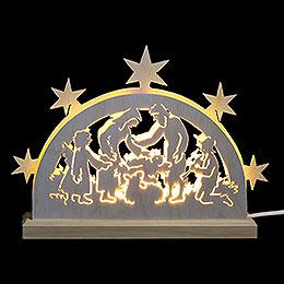 Mini-LED-Schwibbogen Krippenmotiv - 23x15x4,5 cm