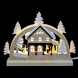 Mini-LED-Schwibbogen Umgebindehaus - 23x15x4,5 cm