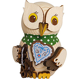 Mini Owl with Gingerbread Heart - 7 cm / 2.8 inch