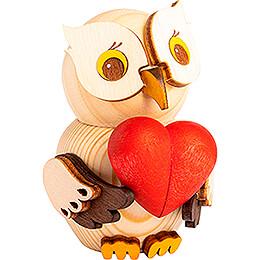 Mini Owl with Heart - 7 cm / 2.8 inch