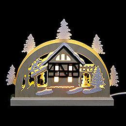 Mini-Schwibbogen Fachwerkhaus - 23x15x4,5 cm