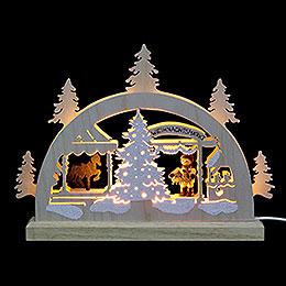 Mini-Schwibbogen Weihnachtsmarkt - 23x15x4,5 cm