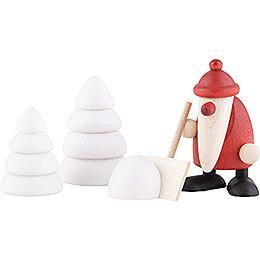 Miniaturen-Set Weihnachtsmann mit Schneeschippe - 4 cm