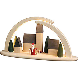 Modern Light Arch - Town with Christmas Gnome - 42x21 cm / 16.5x8.3 inch