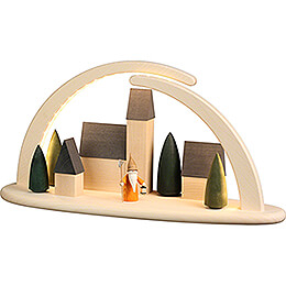 Modern Light Arch - Town with Nightwatchman Gnome - 42x21 cm / 16.5x8.3 inch