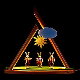 Moderne Lichterspitze Hasen farbig - 50x47 cm