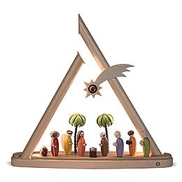 Moderne Lichterspitze Heilige Familie farbig - 50x47 cm