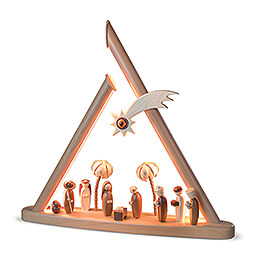 Moderne Lichterspitze Heilige Familie - natur - 50x47 cm