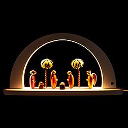 Moderner Lichterbogen Christi Geburt - weiß - 26x49 cm