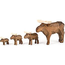 Moose Family - 4 pieces - 8 cm / 3.1 inch