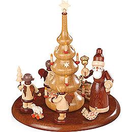 Motivplattform für elektr. Spieldose - Weihnachtsmann und Geschenkeengel natur - 15 cm