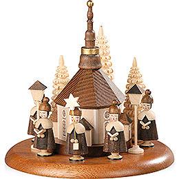 Motivplattform für elektr. Spieldose - Kurrende mit Seiffener Kirche natur - 13 cm