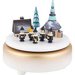 Music Box - Winter Villabe Seiffen with Carolers - White - 14 cm / 5.5 inch