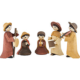 Musicians, Set of Five, Stained - 7 cm / 2.8 inch