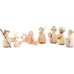 Nativity Set of 10 Pieces Colored - Small - 7 cm / 3.1 inch