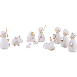 Nativity Set of 10 Pieces White/Natural - Large - 10,0 cm / 4.0 inch