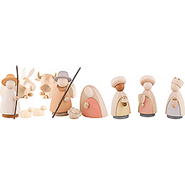 Nativity Set of 11 Pieces Colored - Large - 10,0 cm / 4.0 inch