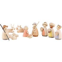 Nativity Set of 11 Pieces Colored - Small - 7 cm / 3.1 inch