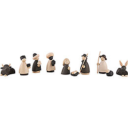 Nativity Set of 11 Pieces Natural/Anthracite - small - 7 cm / 2.8 inch