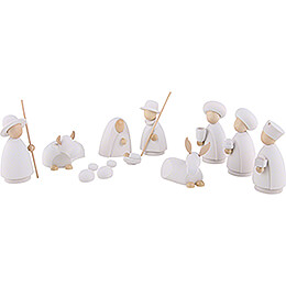 Nativity Set of 11 Pieces White/Natural - Large - 10,0 cm / 4.0 inch