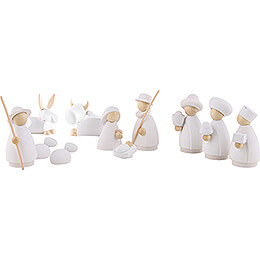 Nativity Set of 11 Pieces White/Natural - Small - 7 cm / 2.8 inch
