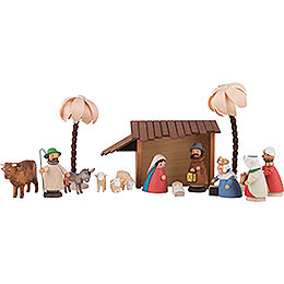 Nativity Set of 15 Pieces Colored - 11 cm / 4.3 inch