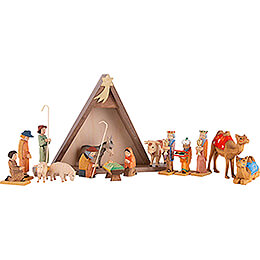 Nativity Set of 16 Pieces, Colored - 14,5 cm / 5.7 inch