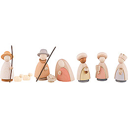 Nativity Set of 9 Pieces Colored - Large - 10,0 cm / 4.0 inch