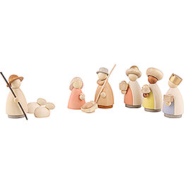 Nativity Set of 9 Pieces Colored - Small - 7 cm / 2.8 inch