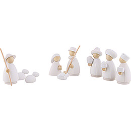 Nativity Set of 9 Pieces White/Natural - Small - 7 cm / 2.8 inch