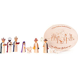 Nativity in Wood Chip Box, colored - 5 cm / 2 inch