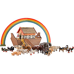 Noah's Ark with 36 Animals and 2 Figurines - 19,5 cm / 7.7 inch