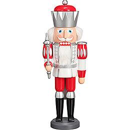 Nussknacker König Exklusiv weiß-silber-rot - 40 cm