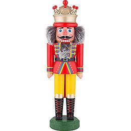 Nussknacker König mit Krone rot-gelb matt - 43 cm
