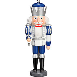 Nussknacker König Exklusiv weiß-silber-blau - 40 cm