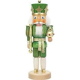 Nussknacker König grün/gold lasiert - 37,5 cm