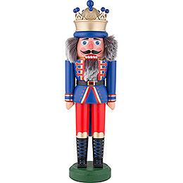 Nussknacker König mit Krone blau matt - 43 cm