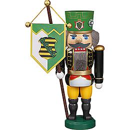 Nussknacker Sächsischer Bergmann mit Uniform und Standarte - 25 cm
