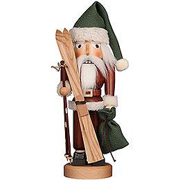 Nussknacker Weihnachtsmann mit Ski natur - 39,5 cm