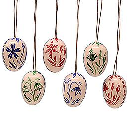 Ostereier-Set weiß mit Blumen - 3,5 cm