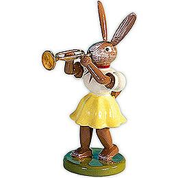 Osterhase mit Trompete, farbig - 7,5 cm
