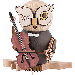 Räuchereule mit Cello - 15 cm