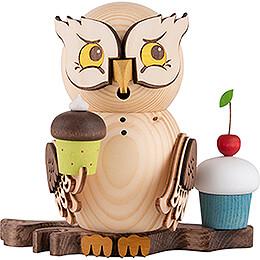 Räuchereule mit Muffins - 15 cm