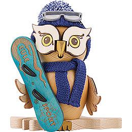 Räuchereule mit Snowboard - 15 cm
