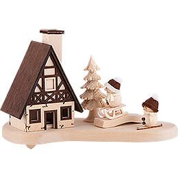 Räucherhaus Schneebällchen natur - 9,5 cm